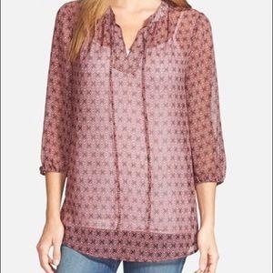 Pleione print tie neck chiffon peasant blouse
